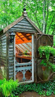 Rustic chandelier-lit garden shed in Nova Scotia, Canada • photo: Joseph De Scoise on The Year Round Veggie Gardener