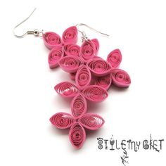 Tripple Decker Pink Paper Quilled Earrings by StyleMyGift on Etsy, $9.00