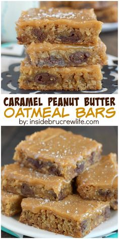 Peanut Butter Oatmeal Bars These caramel peanut butter bars are absolutely delicious! Sweet and salty in every bite!These caramel peanut butter bars are absolutely delicious! Sweet and salty in every bite! Brownie Desserts, Oreo Dessert, Dessert Bars, Just Desserts, Peanut Butter Oatmeal Bars, Peanut Butter Recipes, Baking Recipes, Cookie Recipes, Dessert Recipes