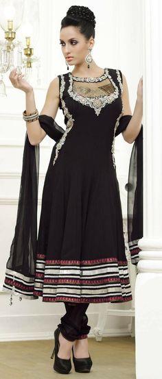 #Black Faux #Georgette Flared #Churidar Kameez @ $171.61