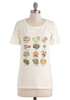 Wait Just a Mineral Tee - Cotton, Long, White, Pink, Brown, Casual, Short Sleeves, Novelty Print, Print, Scholastic/Collegiate