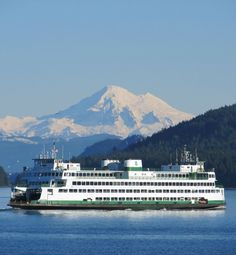 Mt Baker with ferry , Washington State.