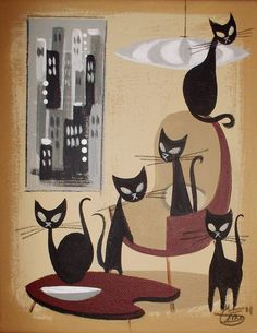 EL GATO GOMEZ PAINTING RETRO 1950S EAMES KNOLL INTERIOR DESIGN BLACK CATS KITSCH in Paintings | eBay