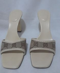 43af0be3dc2 Extra Off Coupon So Cheap gucci brown  beige size canvas GG wood heels