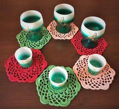 Set 6 servilletas Copa titular de ganchillo mesa de servilleta de color