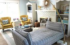 cool backless couch -- it's actually a reupholstered daybed.