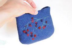 https://flic.kr/p/9EAhSA | pouch | Hand felt + hand embroidered (beads, wool yarn, viscose yarn)