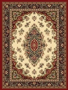 Amazon.com: Creative Home Traditional Classics Area Rug 12001-611 Ivory/Red Medallion 5 3 x 7 5 Rectangle: Home & Kitchen