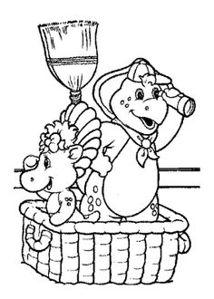 Superb Barney Coloring Book 89 Barney Oversee Coloring Page