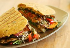 Avocado and Grilled Vegetable Panini with Olive Tapenade from Urban Herbivore