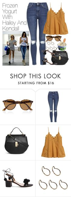 """""""Frozen Yogurt with Hailey Baldwin and Kendall Jenner"""" by onedirectionimagineoutfits99 ❤ liked on Polyvore featuring Ray-Ban, Disney, Topshop, Chloé, H&M, Aquazzura and Pieces"""