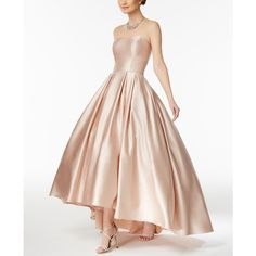 Betsy & Adam Strapless High-Low Ball Gown (€210) ❤ liked on Polyvore featuring dresses, gowns, beige, pink dress, hi low dress, pink sparkly dress, pink high low dress and pink evening gowns