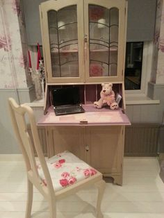 Vintage Shabby Chic Writing Bureau Bookcase Display Cabinet Desk and Chair. Painted with Annie Sloan chalk paint and beautiful decoupage to the writing slope. Another stunning Bespoke piece from Chic Boutique Furniture in Leicester. Available to purchase through eBay.