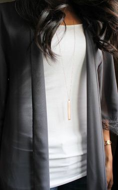 Long Gold Bar Necklace Gold Bar Rose Gold Bar