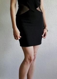 #czarna #sukienka #wycięcia #siateczka #bez ramiączek #zamek