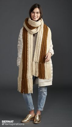 Highline Crochet Super Scarf - Patterns | Yarnspirations | Crochet this scarf lengthwise means there is no sewing to do! This modern striped scarf, crocheted in Bernat Softee Chunky, is an elegant pattern, perfect for both men and women.