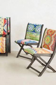 OMG, i love these!! Suzani Terai Folding Chair - anthropologie.com