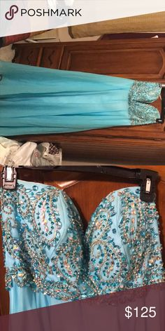 Tiffany blue vibes prom or sw16 dress Beautiful embroidered sweetheart neckline dress with a corset back. In good condition, worn once. Dresses Prom