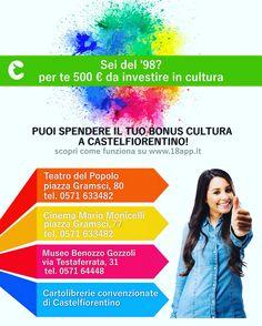 Opportunità per i diciottenni! #castelfiorentino #18app #bonuscultura #teatro #cinema #museo #libri