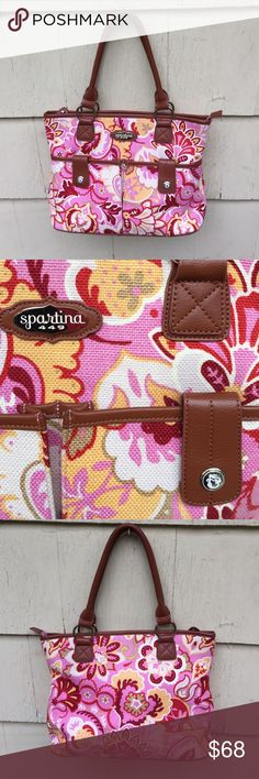 Spartina 449 Large Pink Floral Shoulderbag Spartina 449 Large Shoulder bag handbag. Like New! Pink Floral Print and lining. Brown trim. Zip close. 2 Front snap close pockets and inside pockets. Really nice. No trades Spartina 449 Bags Shoulder Bags