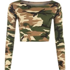 Selena Camo Print Crop Top (820 INR) ❤ liked on Polyvore featuring tops, camouflage, crop top, long sleeve tops, scoop neck top, white top and camo crop top