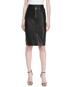 This Michael Kors skirt also features horizontal zip pockets in the back and a zip from the hem upwards to seaming.