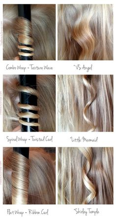 Figure out how to use your curling iron to get different looks. How you wrap your hair around the barrel of the curling iron can drastically affect the end result. Get more curling tips at The Beauty Snoop. Vintage Waves Tutorial, Beach Waves Tutorial, Ribbon Curls, Ribbon Hair, How To Curl Your Hair, How To Curl Hair With Curling Iron, Curling Hair With Wand, Curling Iron Curls, How To Do Curls