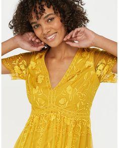 dde236b1c7fbb Monsoon - Yellow Valentina Embroidered Midi Dress - Lyst