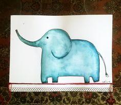 llustrazione per bambini acquerello, inchiostro e fili su carta di cotone 15 X 18