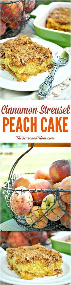 Cinnamon Streusel Peach Cake