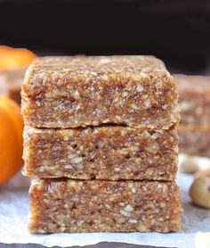 These Paleo Pumpkin Protein Bars are a copycat version of the seasonal RX Bar. No-bake, made with all simple, healthy ingredients, and so delicious! Whole30, gluten free, and dairy free. These are the third RX Bar copycat I've made. There's the Chocolate Sea Salt and the Sunbutter Protein Bar