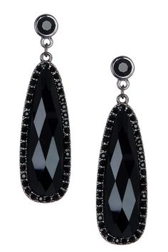 Black Crystal Trim Oval Dangle Earrings on HauteLook