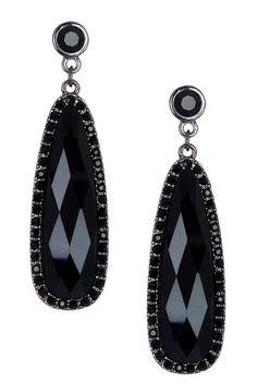 Black Crystal Trim Oval Dangle Earrings on HauteLook