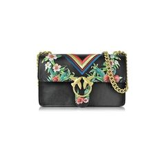 Pinko Handbags Love Tropical Black Leather Shoulder Bag w/Golden Chain ($410) ❤ liked on Polyvore featuring bags, handbags, shoulder bags, black, hand bags, leather purses, chain shoulder bag, handbags shoulder bags and chain strap shoulder bag