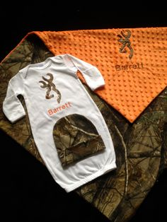 Real tree camo Personalized baby boy layette with by Flatoutfunky, $29.00