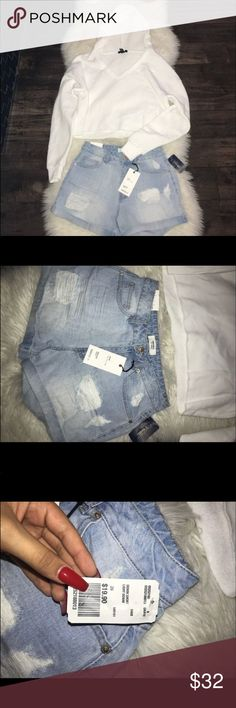 Forever 21 sweater and shorts Shorts new with tags size 26 Sweater worn once size small Price is for both Forever 21 Other