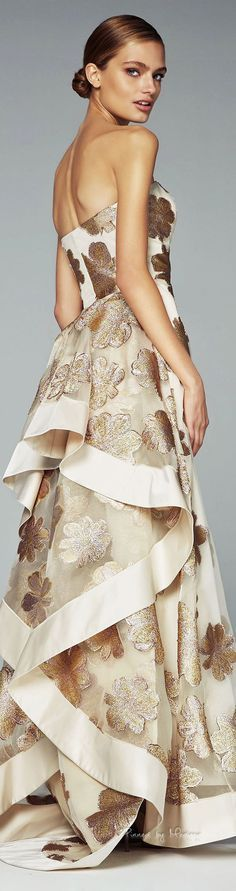 John Paul Ataker ~ Fall Strapless Cream Maxi w Full Layered Skirt + All over Gold Metallic Leaf Motif 2015-2016.