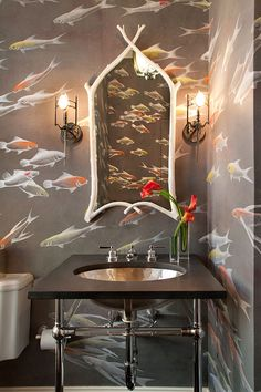 Love this handpainted koi wallpaper from DeGournay - so stunning in this powder room! Goldfish Wallpaper, Koi Wallpaper, De Gournay Wallpaper, Bathroom Wallpaper, Painted Wallpaper, Coastal Wallpaper, Flamingo Wallpaper, Graphic Wallpaper, Mirror Bathroom
