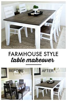 Table Makeover Learn how to easily transform your table into a farmhouse style table with chalk paint and stain!Learn how to easily transform your table into a farmhouse style table with chalk paint and stain! Refurbished Furniture, Furniture Makeover, Diy Furniture, Furniture Design, How To Distress Furniture, Furniture Assembly, Furniture Stores, Dining Furniture, Chair Design
