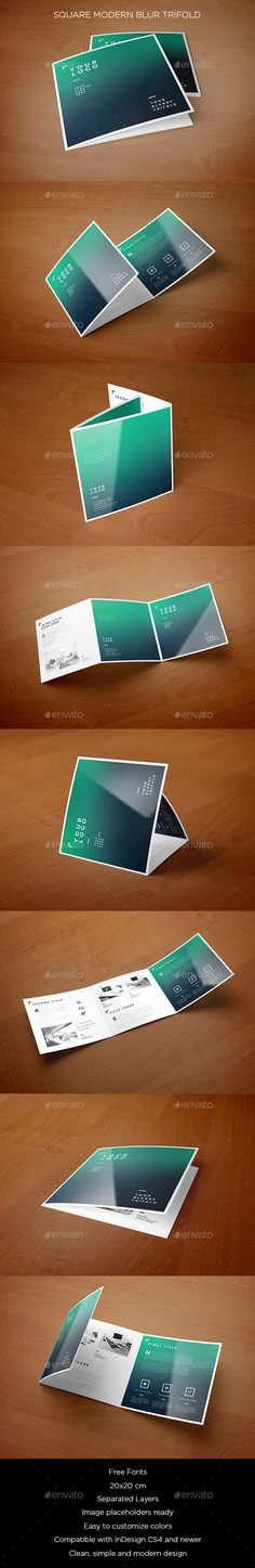 Square Modern Blur Trifold — InDesign INDD #simple #blur • Available here → https://graphicriver.net/item/square-modern-blur-trifold/12017502?ref=pxcr