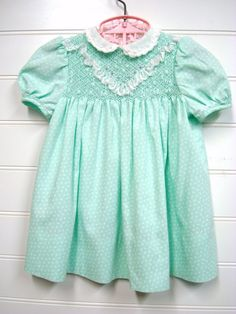 Vintage Baby Clothes Baby Girl Dress In Mint by OnceUponADaizy, $24.00