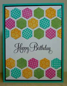 Hexagon Birthday card--Hexagon Die Plate used from Papertrey Ink.  Definitely ordering the hex texture folder from SU