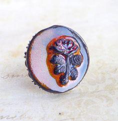 Bague large ronde rose en relief marron bijou femme joli cadeau saint valentin
