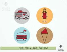 Food Truck Icons Svg Print and Cut File. Food Stickers, Printable Stickers, Planner Stickers, Food Truck Business, Business Icon, Truck Icon, Food Clips, Stock Illustrations, Letter Size Paper