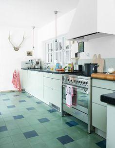 Hellen-van-Berkel-kitchen-green-blue-tiled-floor-Marion-Hoogervorst: Remodelista