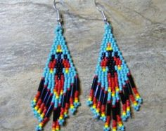 Black Bear Feather Earrings Hand Made Seed Beaded Native