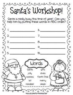 ABC Order {Jolly Santa! A Cupcake for the Teacher}