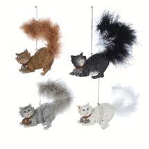 """Kurt Adler Cat Fluffy Tail Ornament 3.5"""""""
