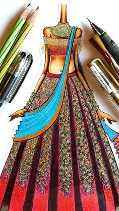 Fashion Drawing Dresses, Fashion Illustration Dresses, Dress Illustration, Fashion Design Books, Fashion Design Drawings, Fashion Sketches, Fashion Illustration Tutorial, Indian Illustration, Wedding Saree Collection