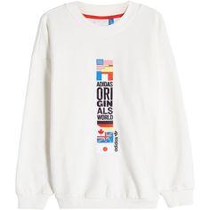 Adidas Originals Embroidered Sweatshirt ($63) ❤ liked on Polyvore featuring tops, hoodies, sweatshirts, white, white sweatshirt, fleece sweatshirt, embroidered sweatshirts, embroidered top and embroidery top